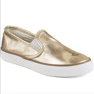 Metallic Gold Sperry Slip On Sneakers